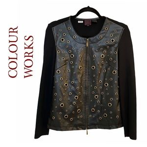 Colour Works Zip Up Multi Eyelet Leather Jacket
